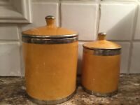 VTG. SAFI MOROCCAN Pottery Yellow Canister-set METAL LINING Handpainted Signed