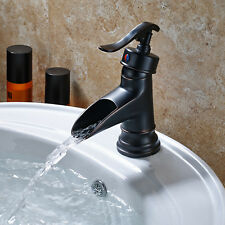 Waterfall Spout Bathroom Sink Faucet Basin Single Handle Deck Mount Mixer Taps