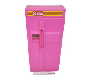 Vintage 1990 Mattel Poupée Barbie Rose Réfrigérateur De Cuisine Ensemble #7472