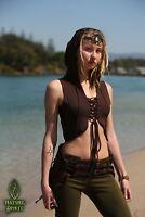 Festival Elven Hood Vest, Fairy Boho Burning Man Top Psytrance Rave Cosplay Goa