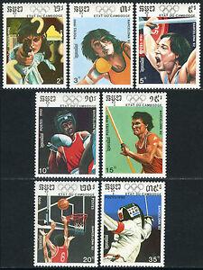 Cambodia 1038-1044,1045 S/s,MI 1116-1122,Bl.174,MNH.Olympic Games,Barcelona,1990