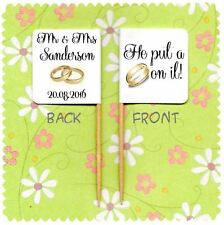 20 PERSONALISED HE PUT A RING ON IT WEDDING CUP CAKE FLAG Topper Decoration