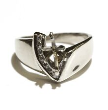 mount engagement ring 6.5g Marquise 9.3x4.47mm 14k white gold .19ct diamond semi