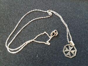 Vintage Sterling Silver Maltese Cross & 925 Chain