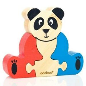 Panda First Bamboo Mini Wooden 3 Piece Puzzle Eco Friendly Toy  Ecoboo 2 Years +