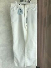 """New Authentic """"Malo"""" White Flat Front Casual Pants US 34 EU 50"""