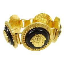 Authentic GIANNI VERSACE Medusa Bangle Bracelet Gold-tone Black Vintage AK16025