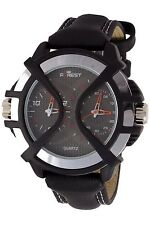 New Forest Brand Leather Belt Black Dial Dual TIME MENS Watch In BOX PACKING
