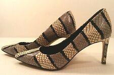 Elie Tahari SNAKESKIN Leather Black Gray White Pumps Shoes Women's 6M EU36 EUC