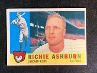1960 Topps Baseball, #305 Richie Ashburn HOF, Cubs, Phillies, Mets, NM, Nice!