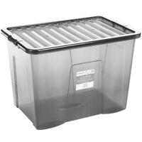 80 L Aufbewahrungsbox mit Deckel Lebensmittelecht Stapel Kiste Kunststoff XXL