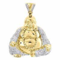 Diamond Buddha Pendant Mens 10K Yellow Gold Round Pave Laughing Charm 0.63 Tcw.