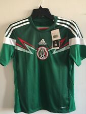 Adidas Mexico Home Green White Soccer Jersey 2014 Size YL Boy's Only