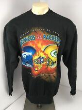 Super Bowl XXXII 1998 Sweatshirt VTG 90s Denver Broncos Green Bay Packers L NEON