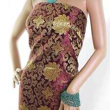 Burgundy Wealthy Flower Chinese Brocade Art. Silk Fabric Material Meter +button
