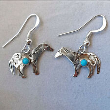 Sterling Silver and Turquoise Horse Southwest Earrings