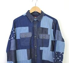 Joe Browns Mens Long Sleeve Button Up Collared Shirt Blue Patched Style - S