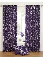 66x72Ringtop Eyelet Curtains Fully Lined Purple Silver Metallic Swirl