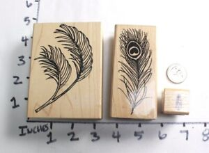 Wooden RUBBER STAMP Block Lot Peacock Bird Feathers Palm Fronds Brush Plants