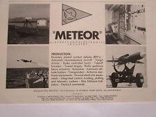 5/1976 PUB METEOR AIRCRAFT ELECTRONICS ITALIA RPV DRONE ORIGINAL AD