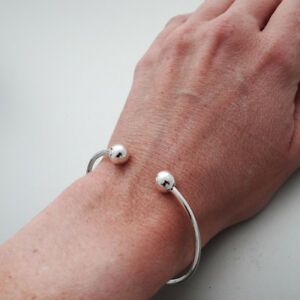"""Sterling Silver 7"""" Charm Cuff Bangle Bracelet, Removable Bead Add Charms Gift"""