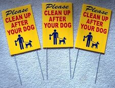 "3 PLEASE CLEAN UP AFTER YOUR DOG  8""X12"" Plastic Coroplast Signs w/ Stakes  rby"