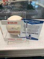 Atlanta Braves Chipper Jones Signed Baseball - MLB HOF Beckett COA W/case
