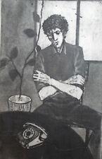 Vintage man portrait print signed
