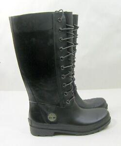 16692M Timberland BLACK Rubber Rain Boots Tall Lace-Up Women Size  7
