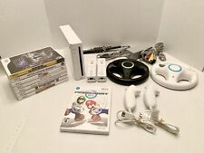 Nintendo Wii Console System Bundle with 8 Games! Includes Mario Kart w/ Wheels!