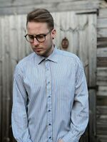 "Paul Smith 16.5"" Colourful Blue Brown Stripe Shirt Men's Formal Work Smart"