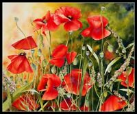 Red Poppy Flowers - DIY Chart  Counted Cross Stitch Pattern Needlework