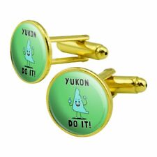 Yukon Do It You Can Canada Funny Humor Round Cufflink Set Gold Color