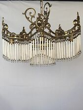 Chandelier, Brass/Crystal/Antique, Rare Shape-Trangular, French/Spanish. (114)