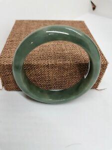56.3mm Ice Green Burmese Jadeite Jade Bracelet Bangle/冰油青天然缅甸翡翠平安手镯56.3mm