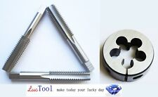 3/4-10 UNC Hand Tap Set and Adjustable Round Die-Taper Plug Bottoming HSS Bright