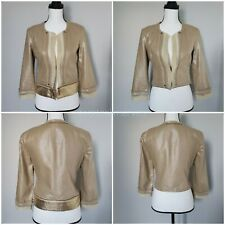 2B Rych Cropped Jacket Mixed Media Metallic Linen Blend Festival sz 4 NWT $297