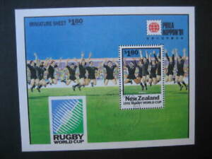 NEW ZEALAND USED MINIATURE SHEET-1991 RUGBY WORLD CUP WITH LOGO SG MS 1627var