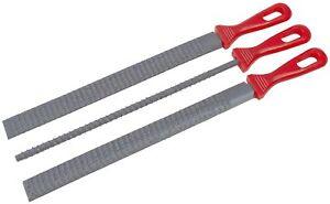 """3 x 8"""" 20cm RASP GRIP FILE SET WOOD FILER FLAT ROUND HALF ROUND WOODWORKING"""