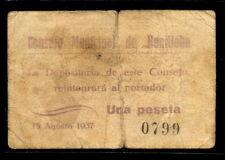 061-INDALO- Benilloba, Alicante. 1 Peseta 1937. Muy escaso !!!!!!!!!!!!!!!!!!!!!