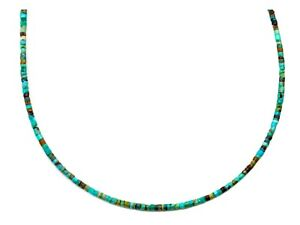 """Turquoise Necklace small heishi Solid Strand Sterling Silver 14k Gold GF 20"""""""