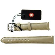 NEW Michele 16mm Metallic Tan Beige Watch Band Strap Genuine Leather
