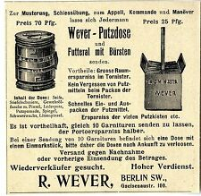 R.Wever Berlin SW. Putzdose für Musterung Schiessübung...Klassische Annonce 1902