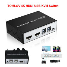 2 in 1 HDMI KVM Switch Video 2 Port USB HD Splitter Switcher with Button Switch