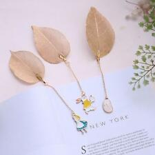 Gold Metal Leaf Bookmark Alice/Rabbit/Watch Pendant Book Paper Reading Creative""