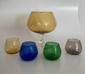 Bowle Bowlenglas und 4 Gläser mundgeblasen echte Rarität 60er Rauchgas wie neu
