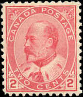 1903 Mint H Canada F-VF Scott #90 2c King Edward VII Issue Stamp