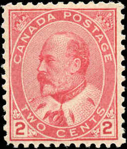 1903 Mint H Canada F-VF Scott #90 2c King Edward VII Issue Stamp