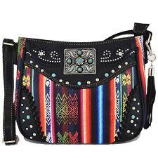 Native Tassels Crossbody Handbag Women Concealed Carry Purse Single Shoulder Bag