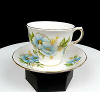 "QUEEN ANNE ENGLAND #8618 BLUE FLOWERS GOLD TRIM 2 7/8"" CUP AND SAUCER"